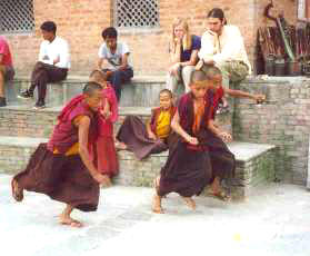Recess for monks in training, Nepal